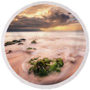 Beach At Paia Round Beach Towel