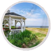 Beach At Rock Hall Round Beach Towel