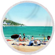 Beach At Roses, Spain Round Beach Towel