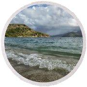 Beach At St. Kitts Round Beach Towel