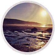 Round Beach Towel featuring the photograph Beach At Sunset by Lyn Randle