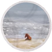 Round Beach Towel featuring the photograph Beach Baby by Lois Bryan