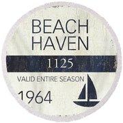 Beach Badge Beach Haven Round Beach Towel