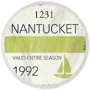Beach Badge Nantucket Round Beach Towel