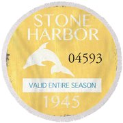 Beach Badge Stone Harbor Round Beach Towel
