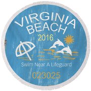 Beach Badge Virginia Beach Round Beach Towel