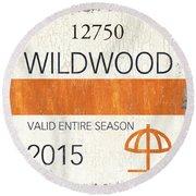 Beach Badge Wildwood Round Beach Towel