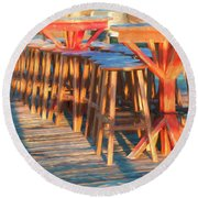 Beach Bar Morning Round Beach Towel