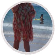 Beach Beauty Round Beach Towel by Esther Newman-Cohen