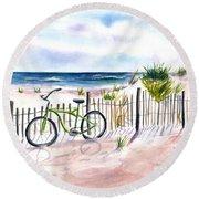 Beach Bike At Seaside Round Beach Towel