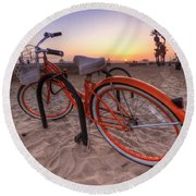 Beach Bike Round Beach Towel by Yhun Suarez