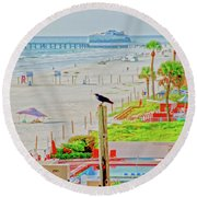 Beach Bird On A Pole Round Beach Towel