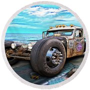 Beach Blanket Rat Rod Round Beach Towel