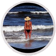 Round Beach Towel featuring the photograph Beach Blonde .png by Al Powell Photography USA