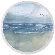 Beach Blue Round Beach Towel