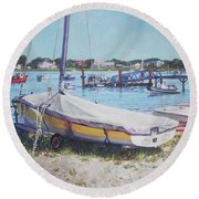Beach Boat Under Cover Round Beach Towel by Martin Davey