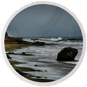 Beach Boulder Round Beach Towel by Joseph Hollingsworth