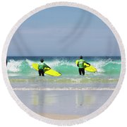 Round Beach Towel featuring the photograph Beach Boys Go Surfing by Terri Waters