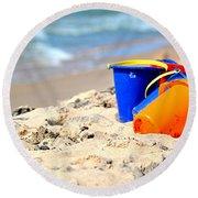 Beach Buckets Round Beach Towel