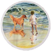 Beach Buddies Round Beach Towel by Melly Terpening