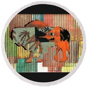 Round Beach Towel featuring the photograph Beach Buffalo by Larry Campbell