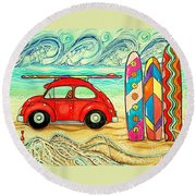 Beach Bug Round Beach Towel