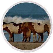 Beach Bum Ponies Round Beach Towel