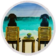 Beach Bums Round Beach Towel by Roger Wedegis