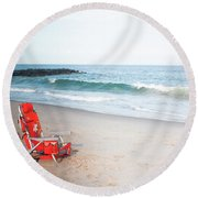 Beach Chair By The Sea Round Beach Towel