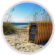 Round Beach Towel featuring the photograph Beach Chairs by Paul Mashburn