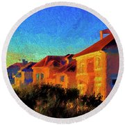 Beach Condos At Sunrise Round Beach Towel