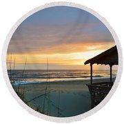 Beach Cottage Sunrise  Round Beach Towel