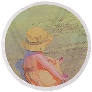 Round Beach Towel featuring the digital art Beach Day by Aliceann Carlton