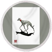 Beach Dog Two Round Beach Towel