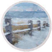 Round Beach Towel featuring the digital art Beach Dune Fence by Anthony Fishburne