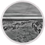 Beach Entry In Black And White Round Beach Towel by Paul Ward