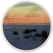 Round Beach Towel featuring the photograph Beach Evening Tones by Deborah  Crew-Johnson