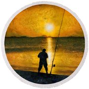 Round Beach Towel featuring the photograph Beach Fishing  by Scott Carruthers