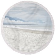 Beach For Two Round Beach Towel by Alex Conu