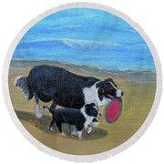 Beach Frisbee Round Beach Towel by Fran Brooks