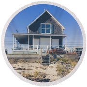 Round Beach Towel featuring the photograph Beach Front Cottage by Edward Fielding