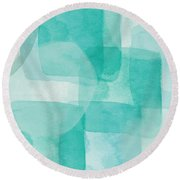 Beach Glass- Abstract Art By Linda Woods Round Beach Towel