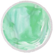 Beach Glass Blues Abstract- Art By Linda Woods Round Beach Towel