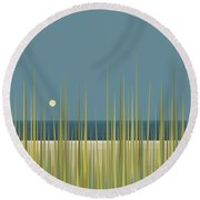 Beach Grass And Blue Sky Round Beach Towel