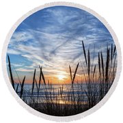 Beach Grass Round Beach Towel by Delphimages Photo Creations