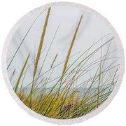 Round Beach Towel featuring the photograph Beach Grass by Kendall McKernon