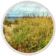 Round Beach Towel featuring the digital art Beach Grass Path - Painterly by Michelle Calkins