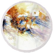 Round Beach Towel featuring the painting Beach Grass Shadows by Rae Andrews
