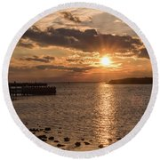 Beach Haven Nj Sunset January 2017 Round Beach Towel