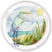Beach Heron Round Beach Towel